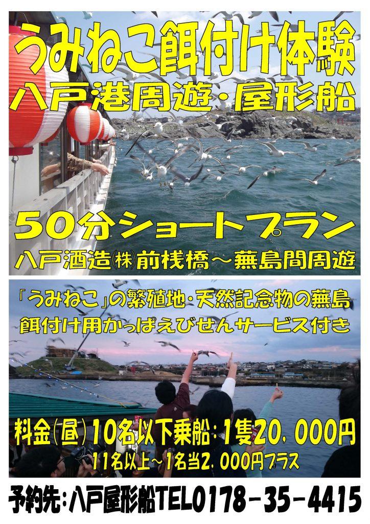 うみねこ餌付け体験 八戸港周遊屋形船50分ショートプランのお知らせ